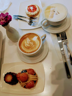 Carmelita, Strawberry and cottage cheese tart, spanish latte and london fog