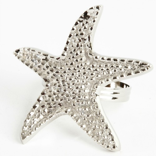Silver Starfish Napkin Rings