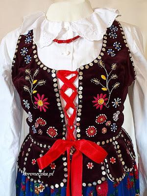 Strój ludowy - gorset haftowany cekinami i haftem płaskim
