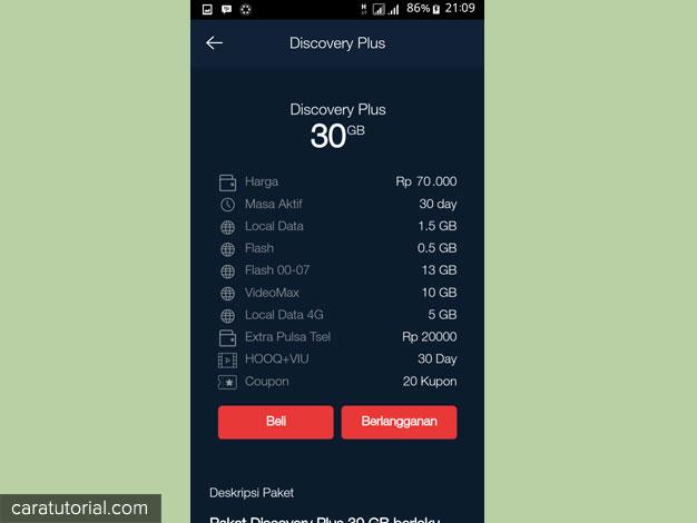 paket internet MyTelkomsel Discovery Plus 30GB Rp 70000