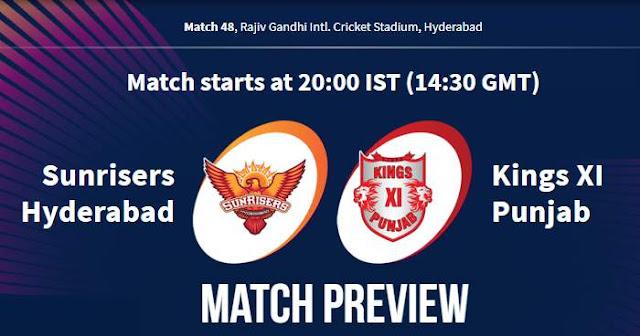 VIVO IPL 2019 Match 48 SRH vs KXIP Match Preview, Head to Head and Trivia