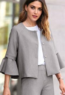 7e92eec5cad chaqueta de vestir con manga de volante 2018 · chaqueta de punto con cuello  alto ...