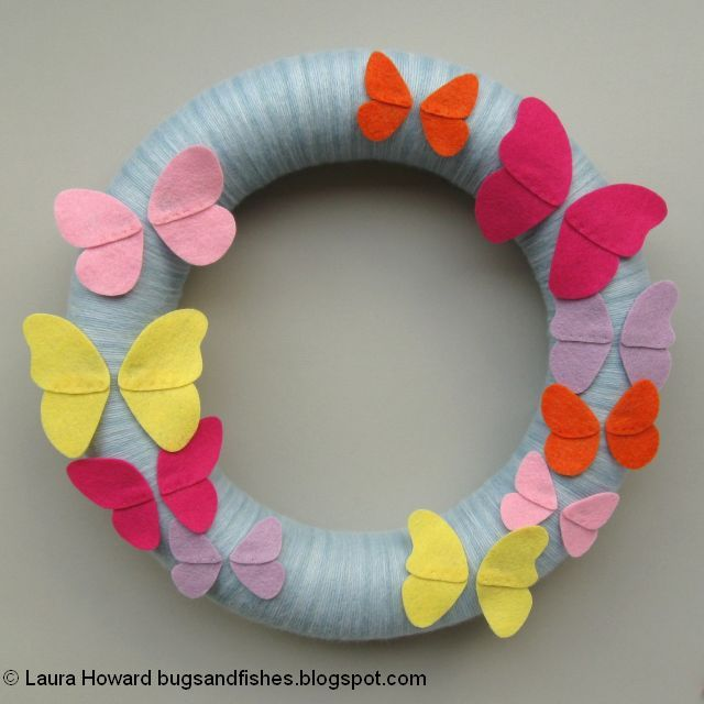 felt butterfly wings glued in position on the wreath