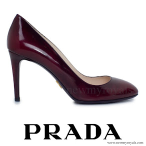 Crown Princess Mary wore PRADA Patent Brushed Leather Pumps in Dark Red