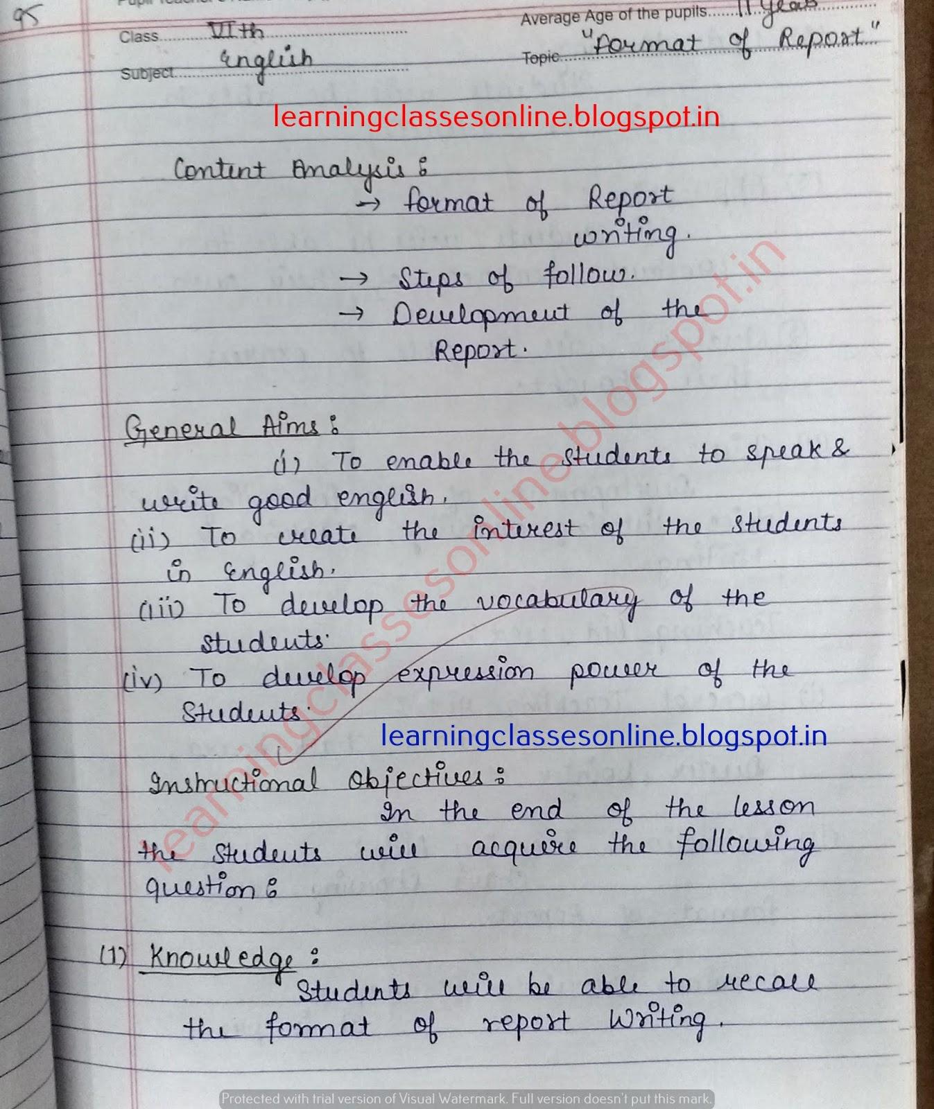 Teacher Teaching Lessons - Mega Lesson Plans - Topic (Format of Report) - English Lesson Plan B.Ed