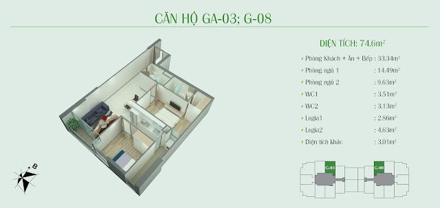 Thiết kế căn hộ 2 ngủ: diện tích 74,6m2