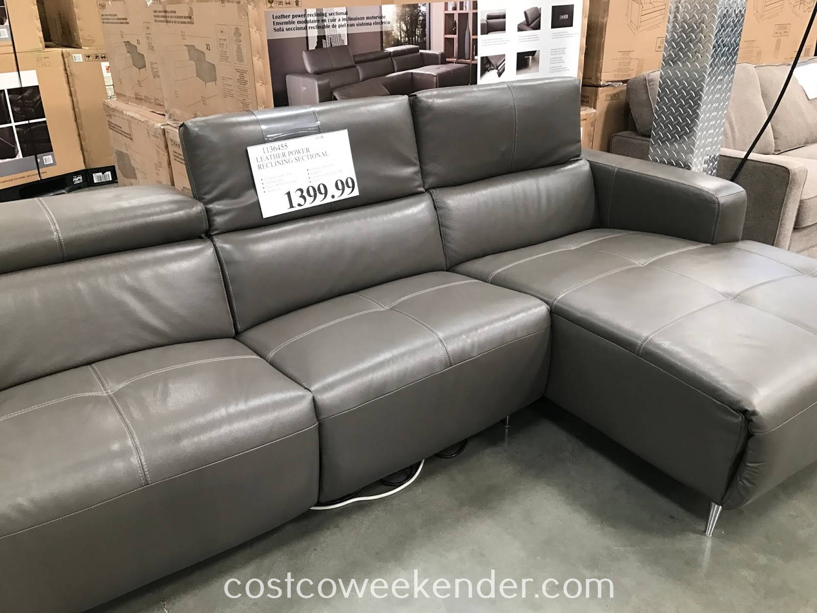 Sofa Natuzzi Electrico Leather Power Reclining Sectional Sofa Costco Weekender