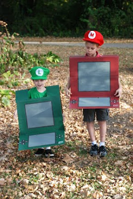 Mario Luigi DS game cardboard costumes
