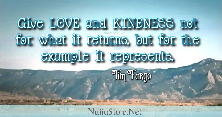 Tim Fargo's Quote: Give LOVE and KINDNESS not for what it returns, but for the example it represents - Quotes