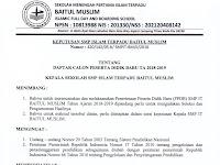 HASIL SELEKSI PENERIMAAN PESERTA DIDIK BARU SMP ISLAM TERPADU BAITUL MUSLIM TAHUN AJARAN 2018-2019