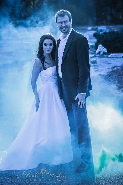 www.AtlantaArtisticWeddings.com Shoot dramatic Wedding photography with Smoke bombs