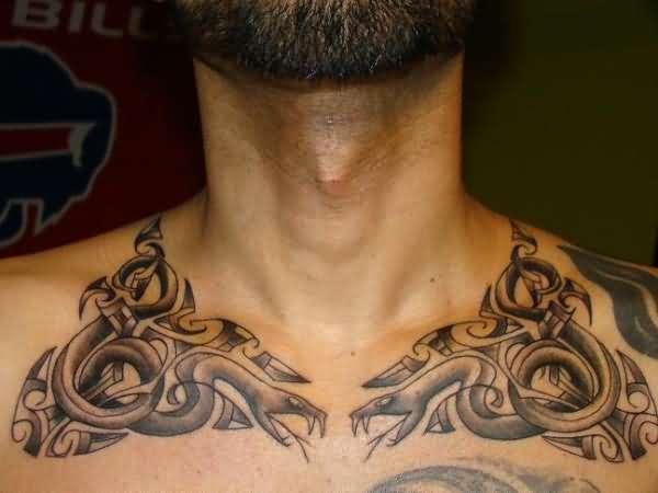 Tatuajes en la clavícula celta para hombre