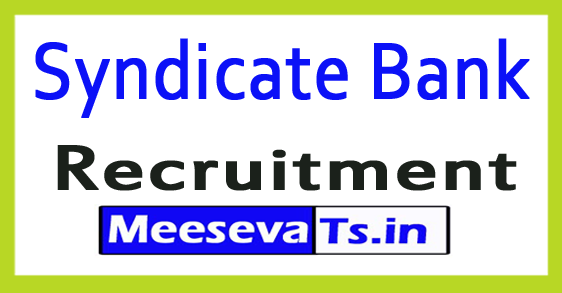 Syndicate Bank Recruitment Notification 2018