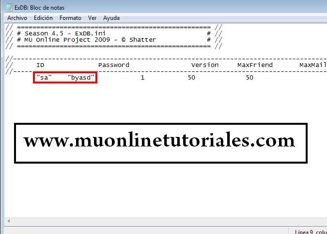 Configuracion de datos sql en el exdb