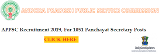 APPSC Recruitment 2019, For 1051 Panchayat Secretary Posts Apply Now - Dailygovtupdates.In