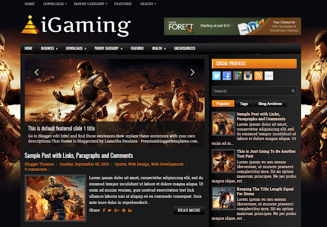 Free Blogger Template for your Gaming Blog Free Download iGaming