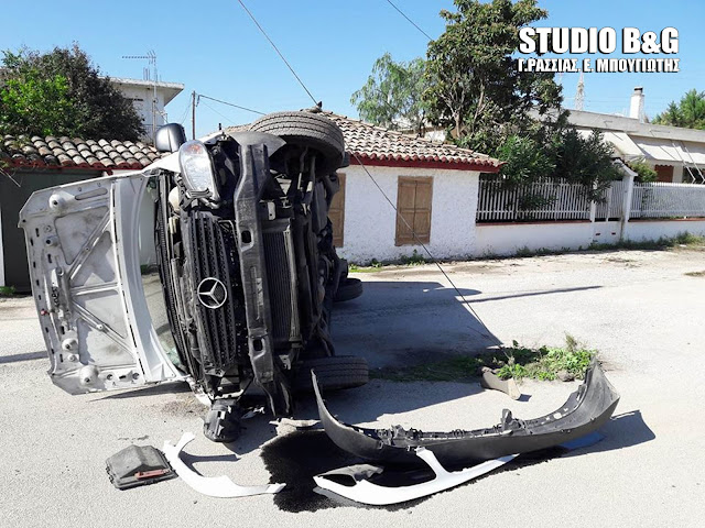 Αργολίδα: Τροχαίο ατύχημα στη Δαλαμανάρα με ανατροπή ημιφορτηγού αυτοκινήτου