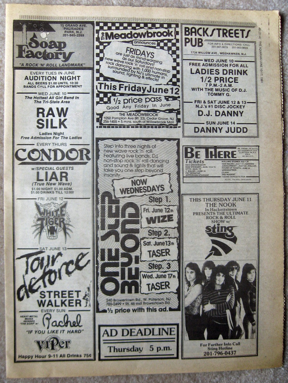 Soap Factory - The Meadowbrook - One Step Beyond - Backstreets Pub - The Nook band line ups 1981