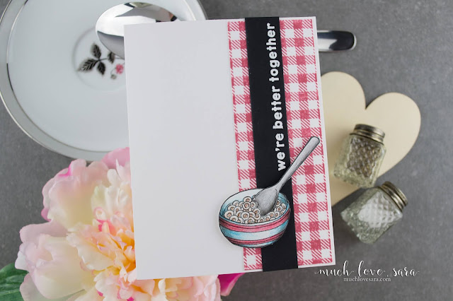 This sweet and simple card, features the Bowled Over stamp set, and the Flannel Life background stamp from Fun Stampers Journey.