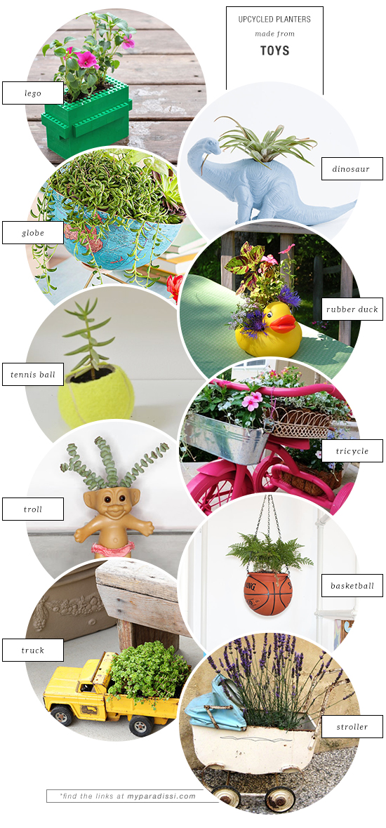 10 unexpected upcycled planters made from toys