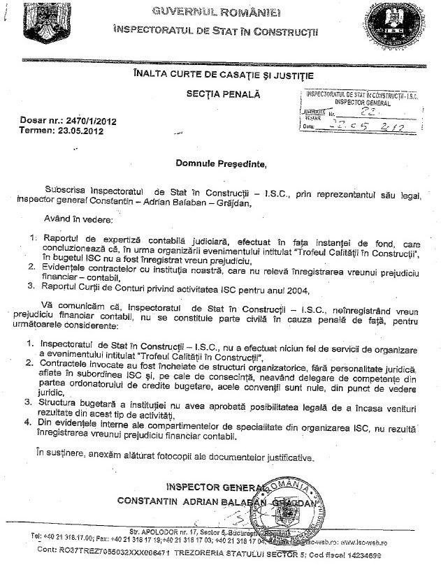 Adresa Guvernului catre ICCJ