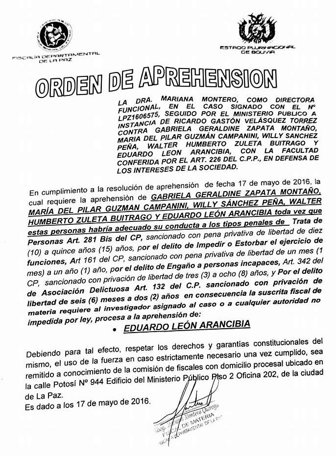 Orden de aprehension para la tia y abogados de Gabriela Zapata