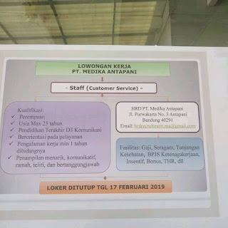 Lowongan Kerja Customer Services Medika Antapani 2019