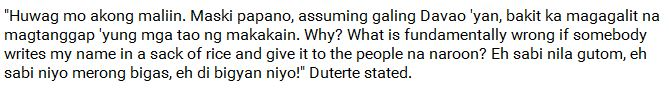 Rodrigo Duterte cursed at the Cotabato Governor because of the rice donations they gave to the farmers!