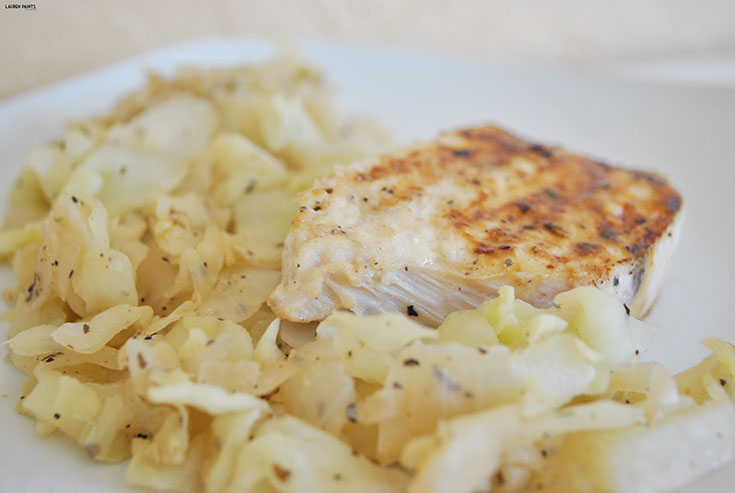 Healthy Dinner: Swordfish and Sautéed Cabbage and Onions