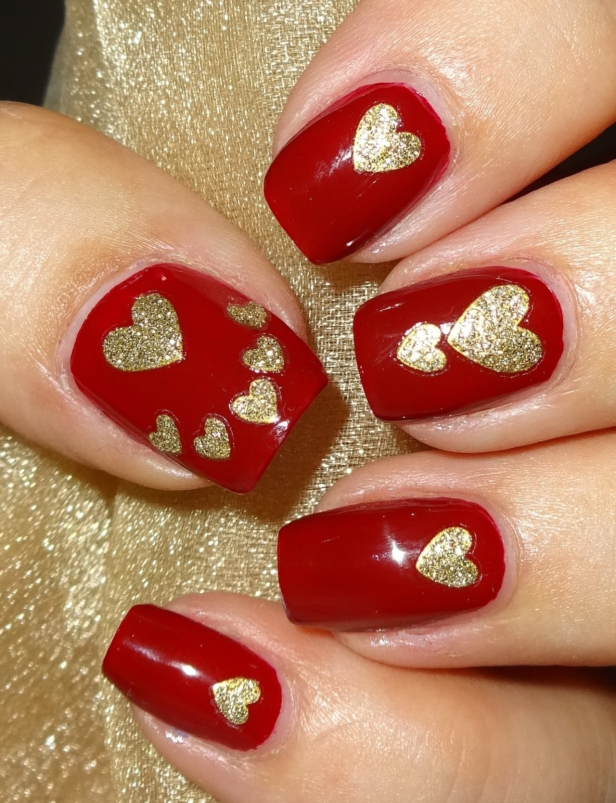 Wendy's Delights: Gold Heart Glitter Nail Stickers From