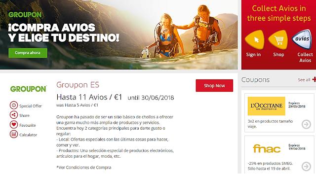 Groupon.es買Iberia Avios剛試了新戶VIVEGRPN折扣碼又可以用了