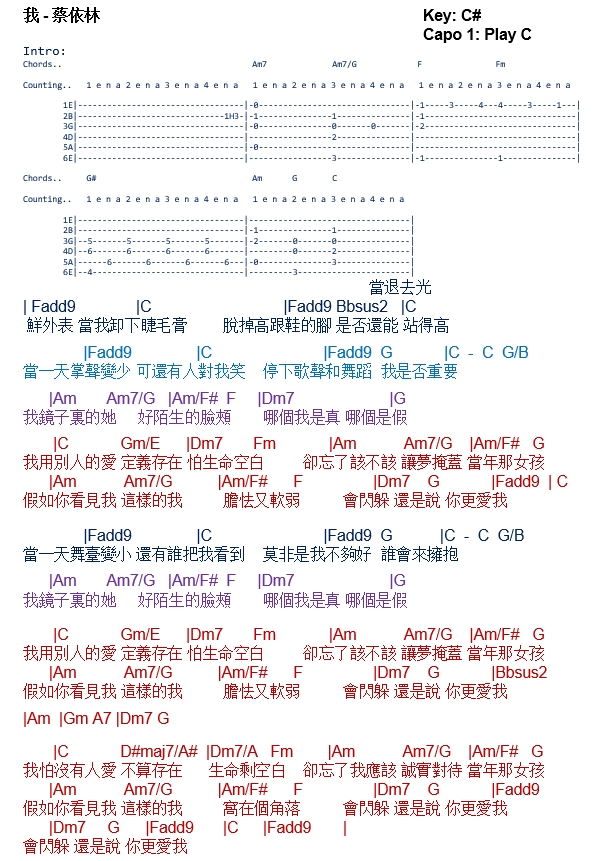 TalkingChord.com: 蔡依林- 我(吉他谱Chords)
