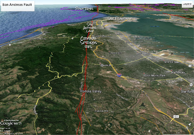 Google Earth image with USGS faults and annotations by RocDocTravel.com