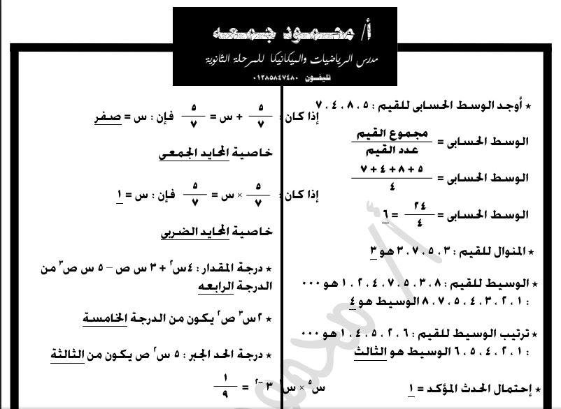 مراجعة الجبر للصف الاول الاعدادى دور ثان 2016 للاستاذ / محمود جمعه