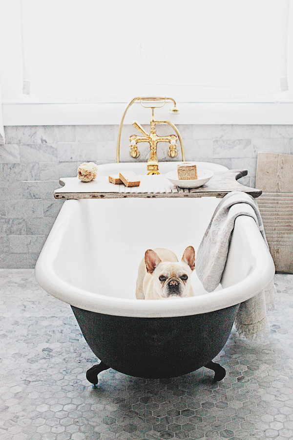 Master Bathroom Makeover with Unlacquered Brass Rohl Faucets