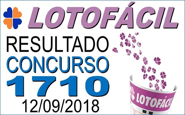 Resultado da Lotofácil concurso 1710 de 12/09/2018 (Imagem: Informe Notícias)