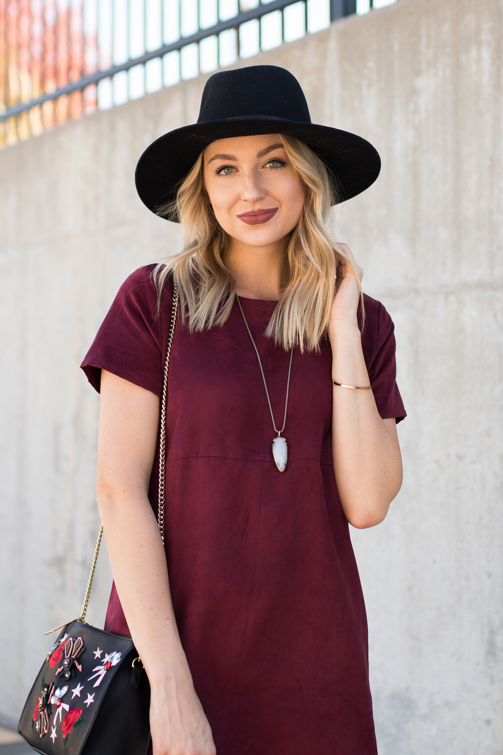 Burgundy dress and lipstick