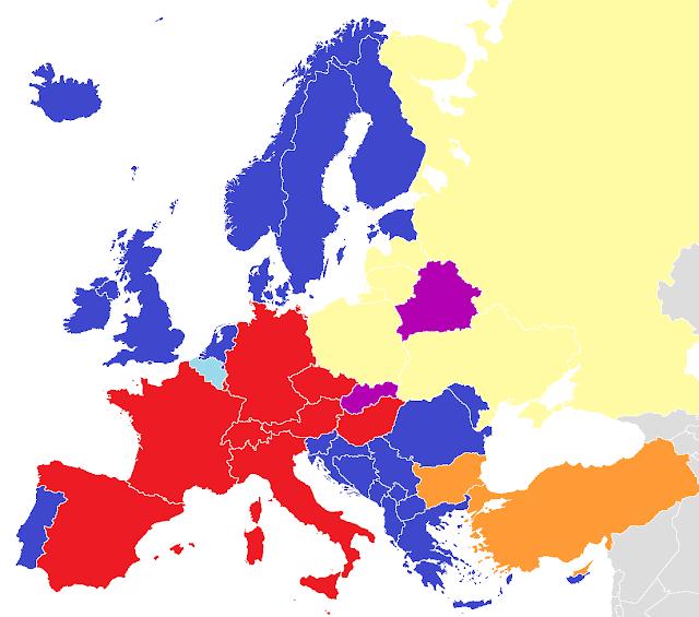Mapa de Europa que mayoritariamente usan doblaje o subtitulado en cine y televisión
