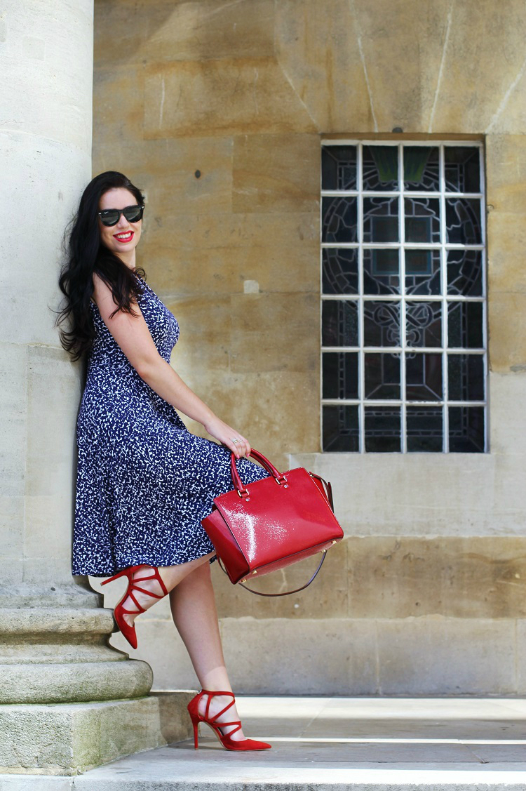Emma Louise Layla in Joules gracie dress & Michael Kors red Selma bag - UK fashion blogger