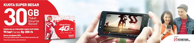 Promo Smartfren : Paket Kuota Super Besar 30 GB