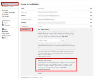 Cara menonaktifkan akun Facebook dan menghapus akun Facebook Anda