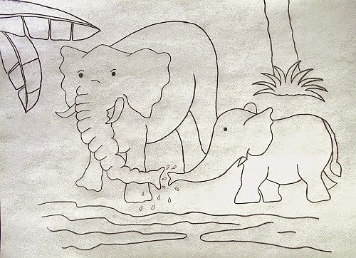 Pencil Drawing of Elephant