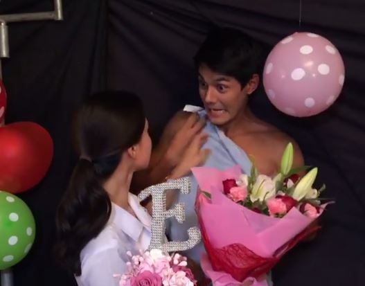 Erich Gonzales receives a cake, a bouquet of flowers, and a half-naked boyfriend on her birthday