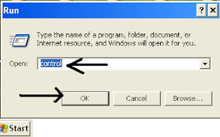 type CONTROL run command to access windows control panel