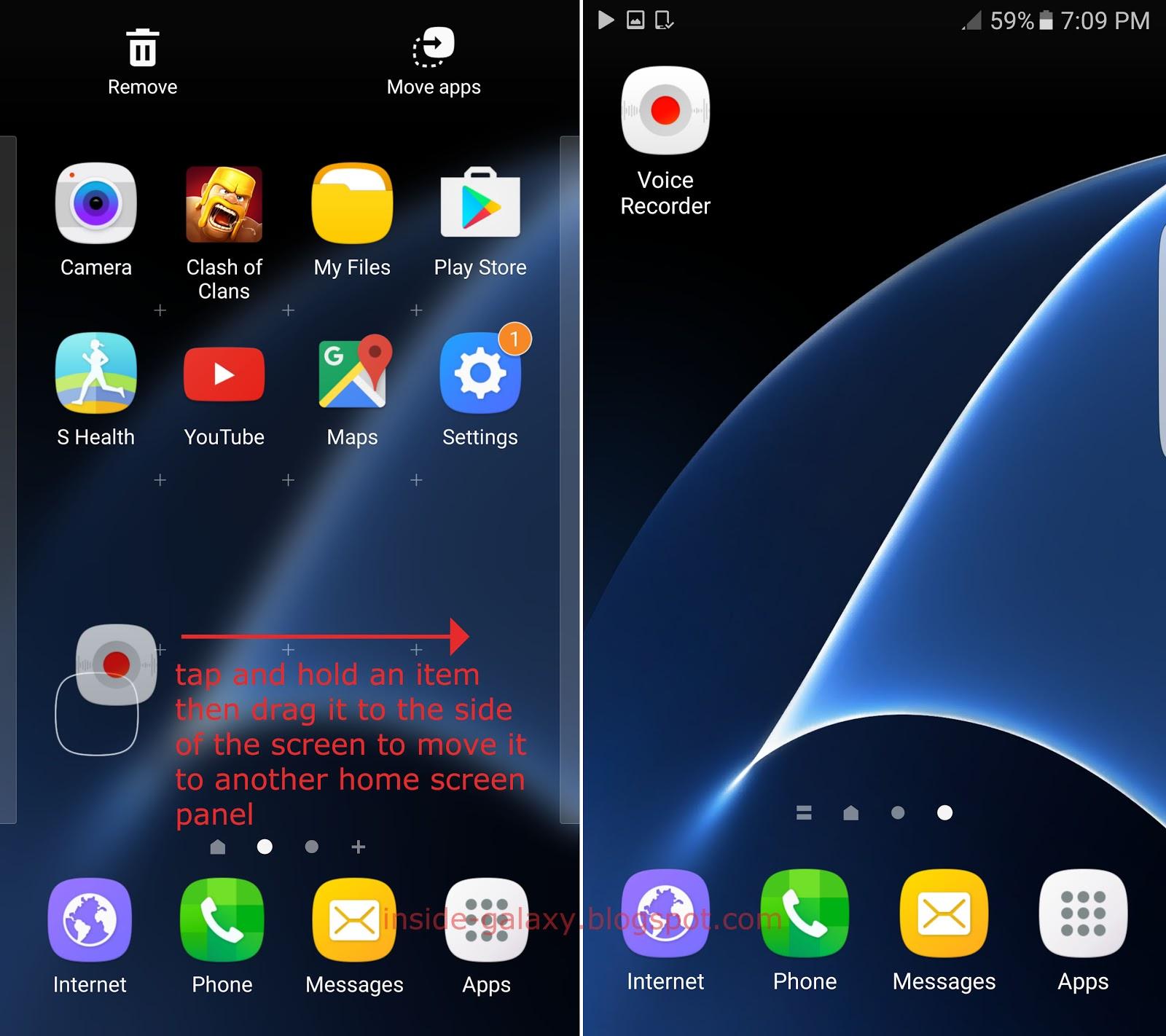 Inside Galaxy: Samsung Galaxy S7 Edge: How to Move Items ...