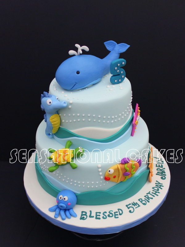 Cakeinspiration Singapore Cute Blue Whale Theme 1st Birthday Cake