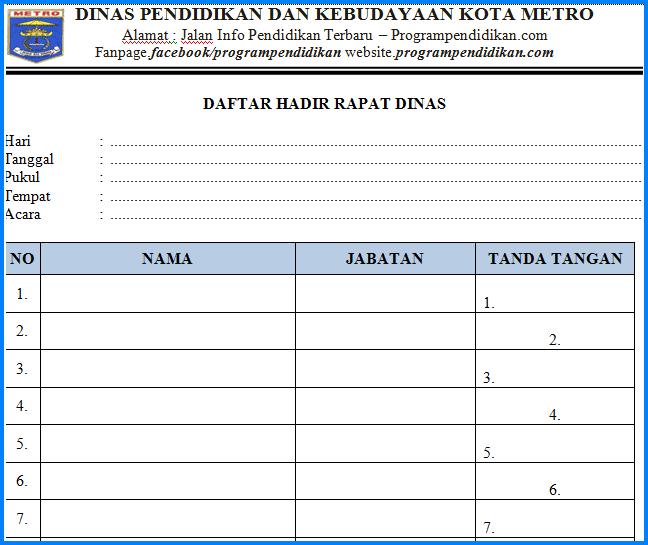 Format Daftar Hadir Rapat Sekolah/ Dinas Tahun 2018