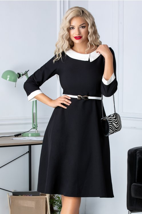 Rochie ieftina pentru birou neagra cu guler alb in clos maneci trei sferturi