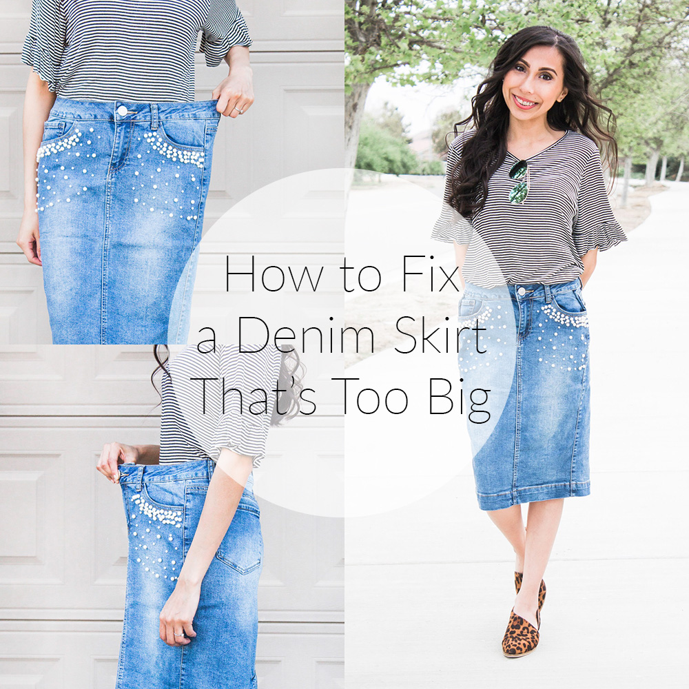 how to fix a denim skirt before and after image