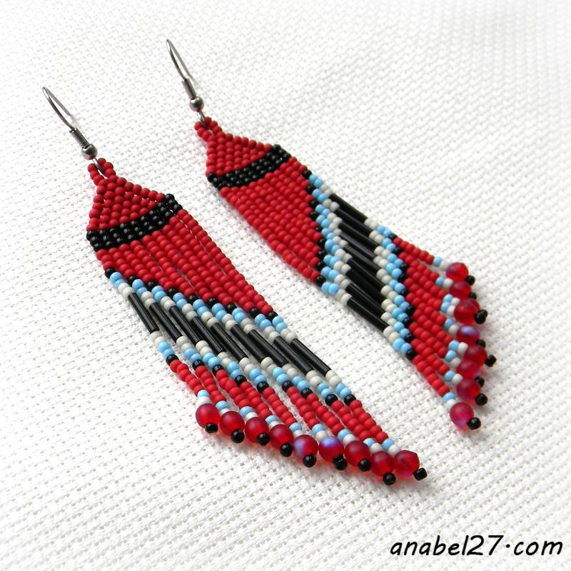Красные серьги из бисера - 231 / 365